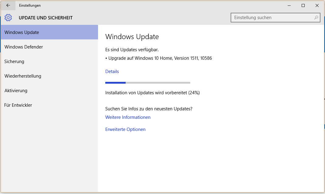 Windows Update Installation Version 1511 10586