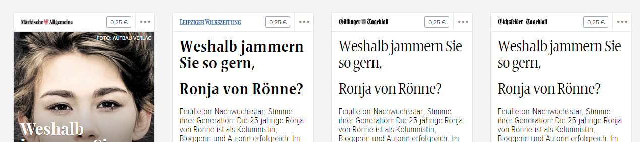 Pressevielfalt - Ronja von Rönne Interview in vielen Zeitungen